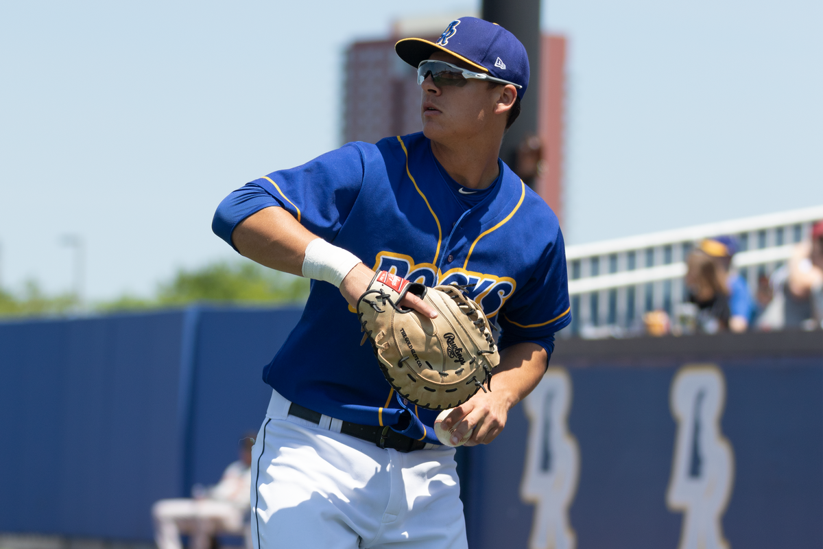 First baseman Nick Pratto in a game for the Wilmington Blue Rocks