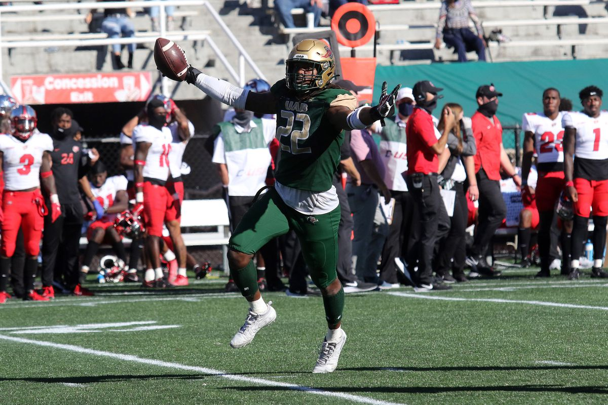 UAB Blazers linebacker Jordan Smith celebrates an interception in the game between UAB Blazers and Western Kentucky Hilltoppers on October 17, 2020 at Legion Field in Birmingham, Alabama.