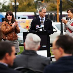 Mayor Ralph Becker receives applause after speaking at a groundbreaking for the new Central Ninth Market in Salt Lake City, Wednesday, Oct. 28, 2015. The 9,216-square-foot commercial building will be occupied by six locally-owned small businesses, including Jade Market, which will stand as the first local food market in the neighborhood.