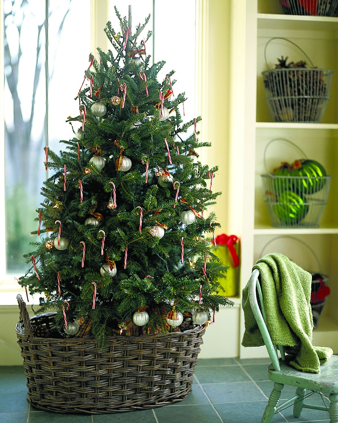 A decorated live Christmas tree indoors placed in a decorative basket.
