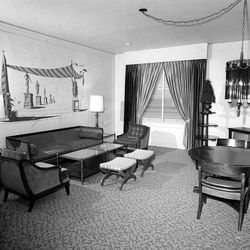 New carpeting, drapes, furniture, lighting and painting brighten this living room area of one of the suites. June 2, 1967.