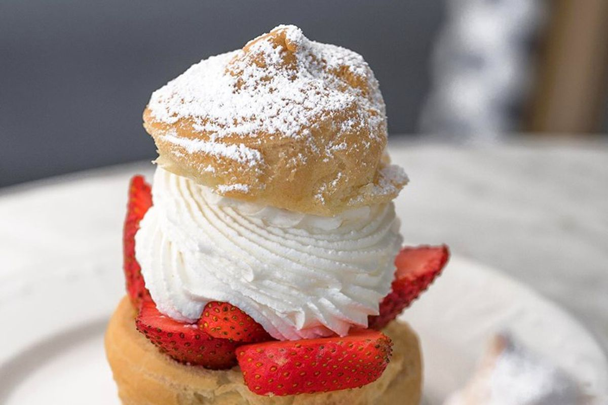 A strawberry puff pastry from Le Paris Brest Cafe in Henderson.