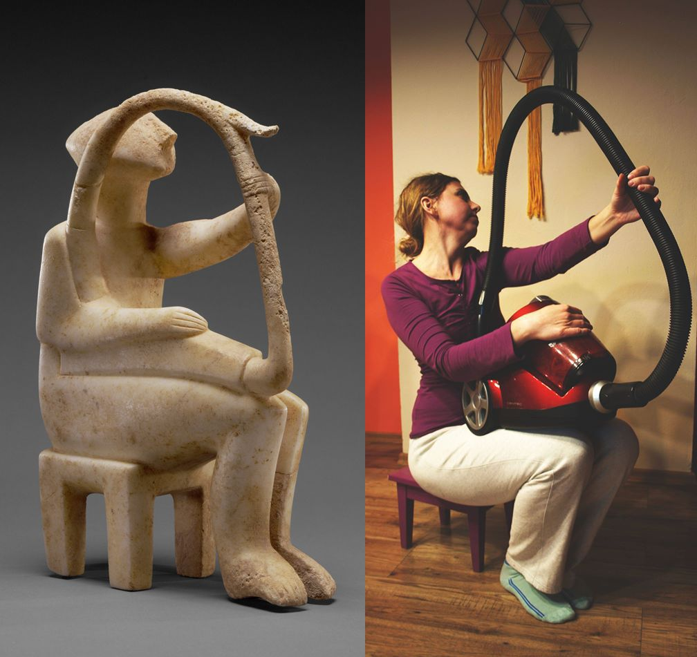 On the left side is a sculpture holding a harp, on the right side is a photo of a woman in a purple shirt and white pants holding a vacuum.