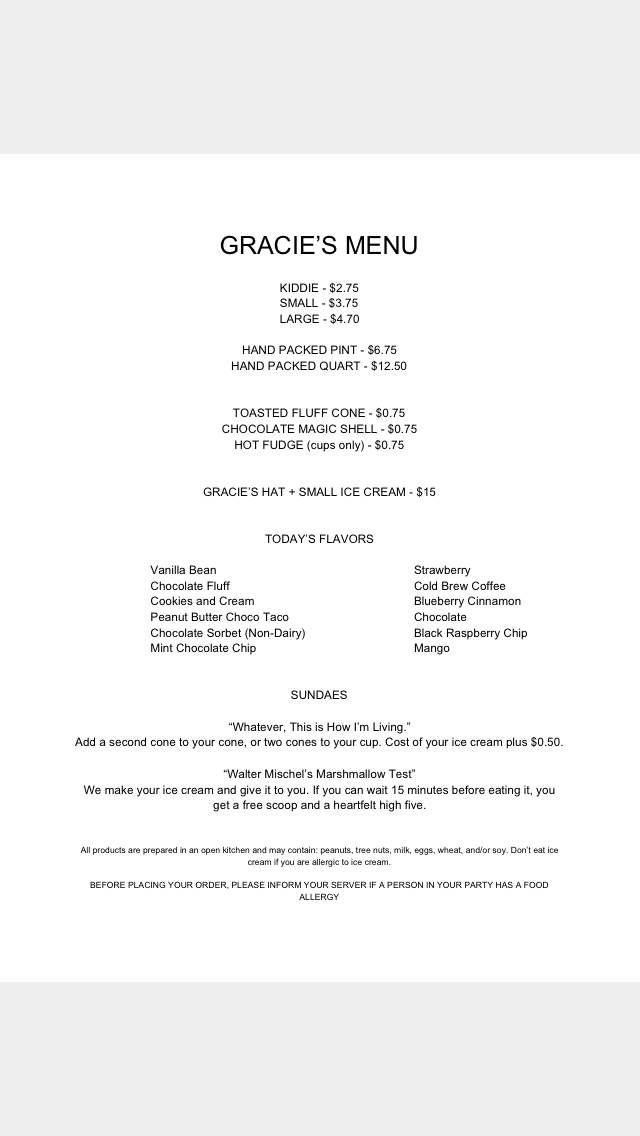 Gracie's Ice Cream menu