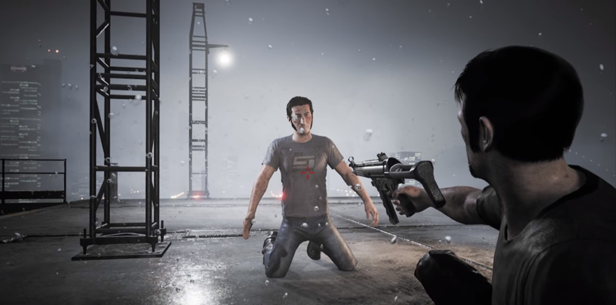 A man shooting another man in the video game 'A Way Out'