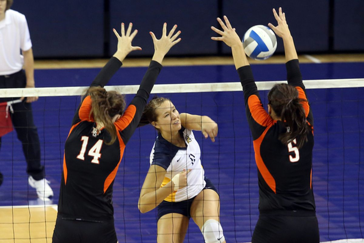 Lindsey Gosh led Marquette in kills as they lost to Louisville for the third time this season.