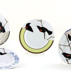 """""""Seconds"""" Dessert Plates Set ($95) - These dessert/salad plates prove that parts can sometimes be better than the whole thing; each is microwave and dishwasher safe."""