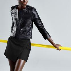 Leather jacket, $498; skort, $88