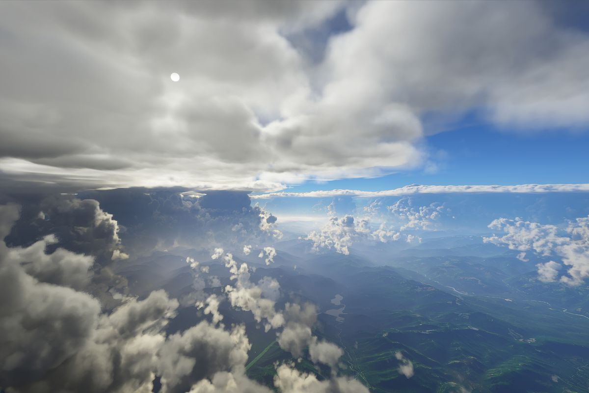 Three layers of clouds, including whispy clouds low in the frame and dark thunderheads in the background, in early screenshots from Microsoft Slight Simulator.