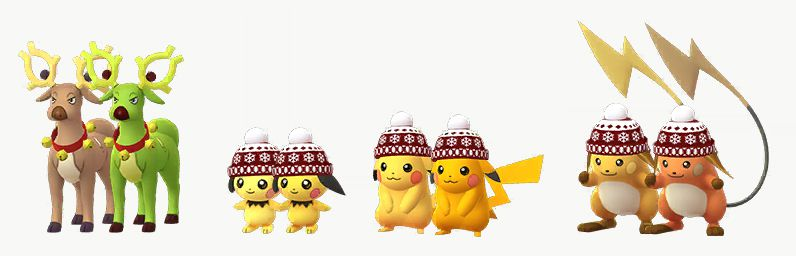 The holiday versions of Stantler, Pichu, PIkachu, and Raichu, stand with their Shiny forms