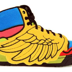 """<strong>adidas ObyO</strong> Infant Jeremy Scott Wings Sneaker at <strong>Bodega</strong>, <a href=""""http://shop.bdgastore.com/products/infant-js-wings"""">$100</a>"""