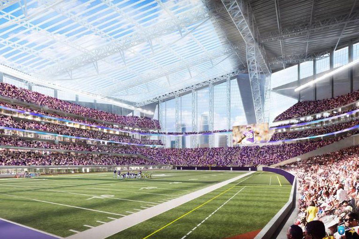 New Vikings stadium, field view.