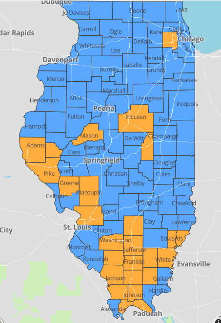 Counties marked orange are considered at a COVID-19 warning level.