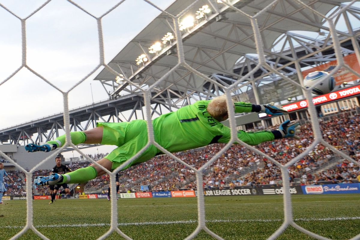 CHESTER, PA - JUNE 22: Jimmy Nielsen #1 of Sporting Kansas City makes a save during the game against the Philadelphia Union at PPL Park on June 22, 2011 in Chester, Pennsylvania. The game ended 0-0. (Photo by Drew Hallowell/Getty Images)