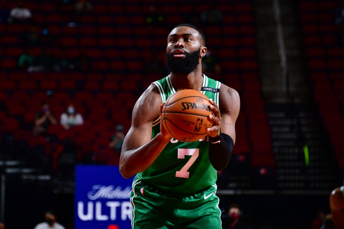 Jaylen Brown #7 of the Boston Celtics shoots a free throw during the game against the Houston Rockets on March 14, 2021 at the Toyota Center in Houston, Texas.