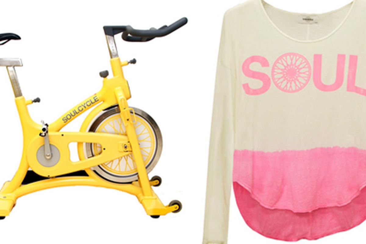 """SOULCYCLE Bike, <a href=""""http://www.soul-cycle.com/the-soulcycle.cfm"""">$2200</a>; Dip dye shirt, <a href=""""http://www.soul-cycle.com/shop/index.cfm?action=Catalog.product&amp;id=1495&amp;name=dipdye-ls-w-wheel"""">$52</a>"""