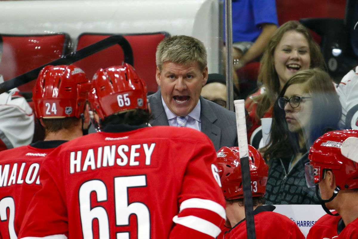 Ron Hainsey getting an earful from Bill Peters