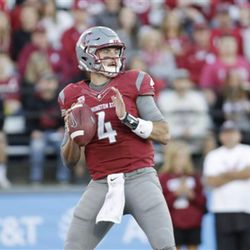 Washington State quarterback Luke Falk (4) looks to pass the ball during the first half of an NCAA college football game against Eastern Washington in Pullman, Wash., Saturday, Sept. 3, 2016. (AP Photo/Young Kwak)