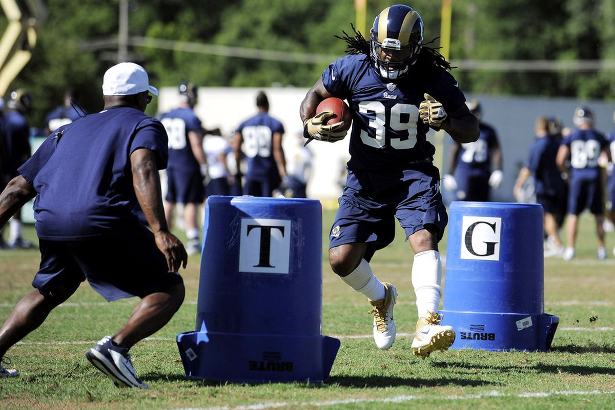 June 12, 2012; St. Louis, MO, USA; St. Louis Rams running back Steven Jackson (39) runs a drill during minicamp at ContinuityX Training Center. Mandatory Credit: Jeff Curry-US PRESSWIRE