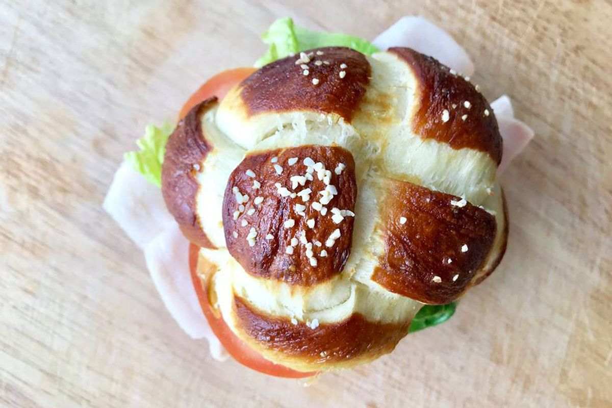 The challah-pretzel roll at Queen Anne Coffee Co.
