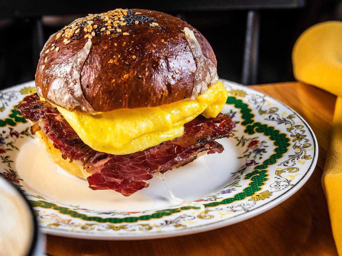 A pastrami breakfast sandwich from Ellē