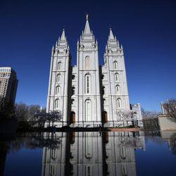 The Salt Lake Temple in Salt Lake City on Saturday, April 2, 2016.