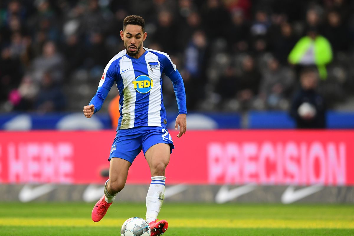 Bundesliga, Hertha BSC - Werder Bremen, 25th matchday in the Olympic Stadium. Matheus Cunha from Hertha on the ball.