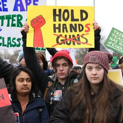 Shayna Ungerleider, 17, of Northbrook (center) attend the March for Our Lives rally in Union Park. | Ashlee Rezin/Sun-Times