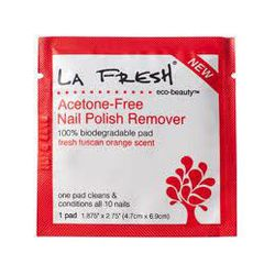 """<span class=""""credit"""">""""<b>La Fresh Eco Beauty Nail Polish Remover Pads</b> (<a href=""""http://lafreshgroup.com/eco-beauty/acetone-free-nail-polish-remover-multi-packets.html"""">$10.99</a>). Because there is no excuse for chipped polish.""""</span><p>"""