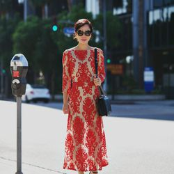 """Hallie of <a href=""""http://www.halliedaily.com""""target=""""_blank"""">Hallie Daily</a> is wearing a For Love & Lemons dress, a Chanel bag, Zara shoes and <a href=""""http://www.saksfifthavenue.com/main/ProductDetail.jsp?PRODUCT%3C%3Eprd_id=845524446656512&R=80536721"""