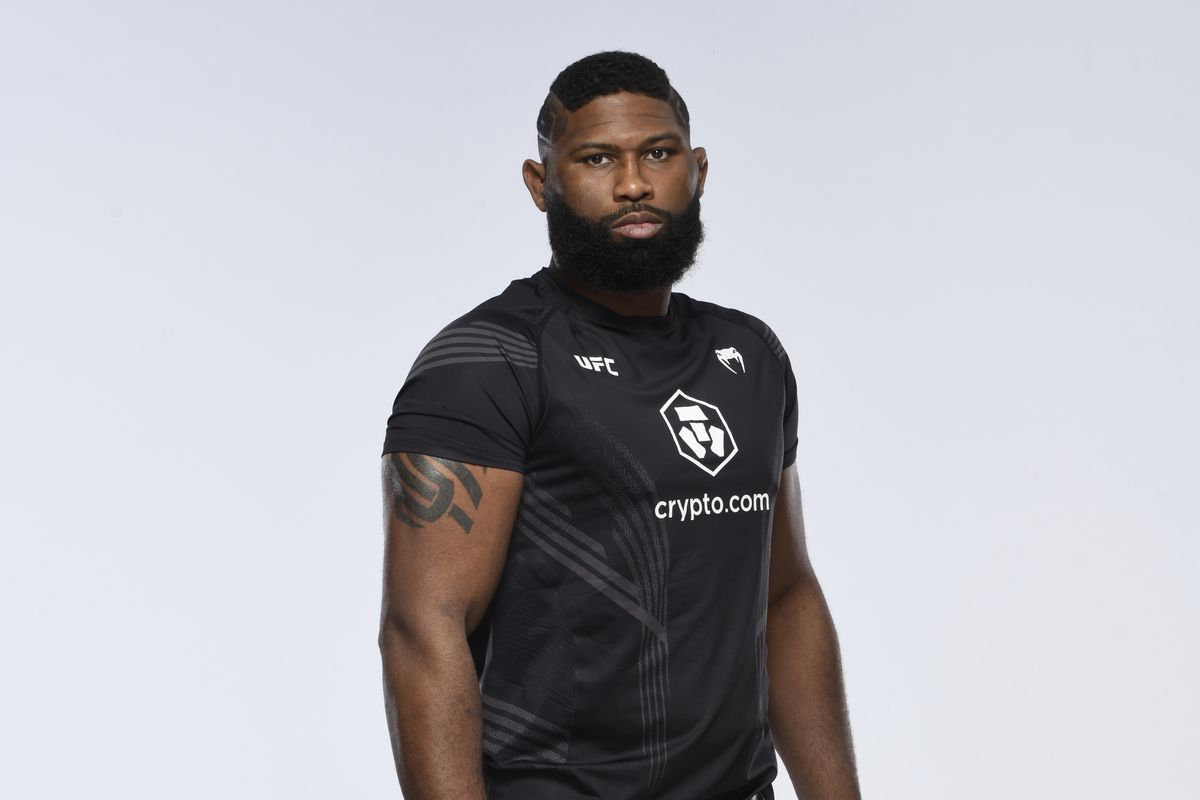 Curtis Blaydes poses for a portrait during a UFC photo session on September 22, 2021 in Las Vegas, Nevada.