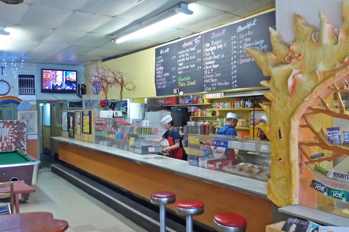 The interior of Seven Coffee Shop is likely to induce nostalgia.