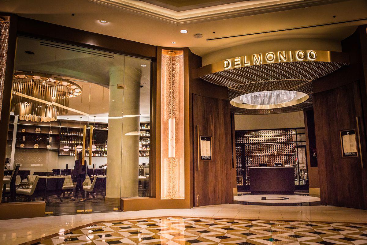 The renovated entrance to Delmonico Steakhouse