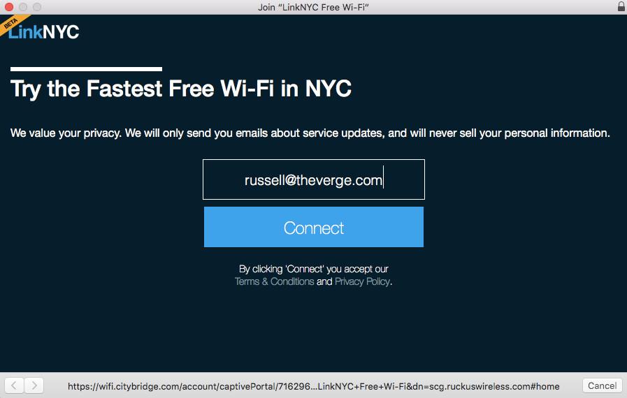 LinkNYC login screen