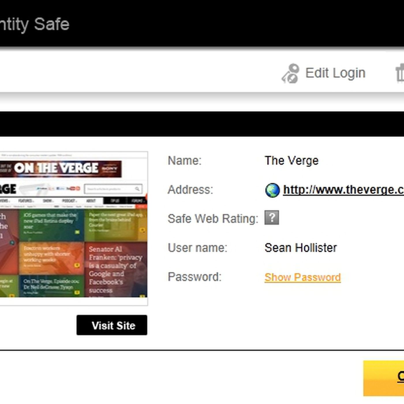 Norton Identity Safe stores your logins in the cloud: the