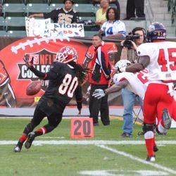 The ball falls out of Isaiah Burse's reach.