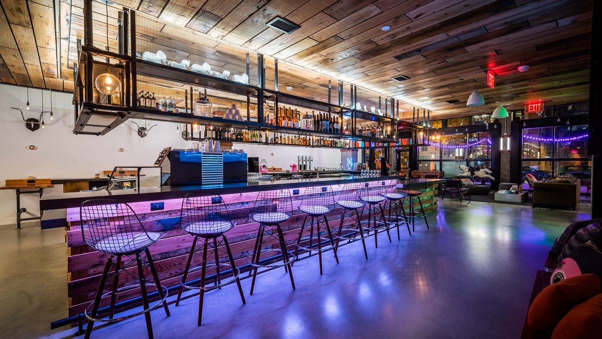 Inside Moxy Hotel S New Millennial Friendly Game Room Bar