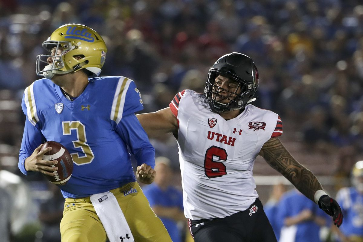 Utah Utes defensive end Bradlee Anae (6) flushes UCLA Bruins quarterback Wilton Speight (3) out of the pocket during the University of Utah versus UCLA football game at the Rose Bowl in Pasadena, California, on Friday, Oct. 26, 2018.