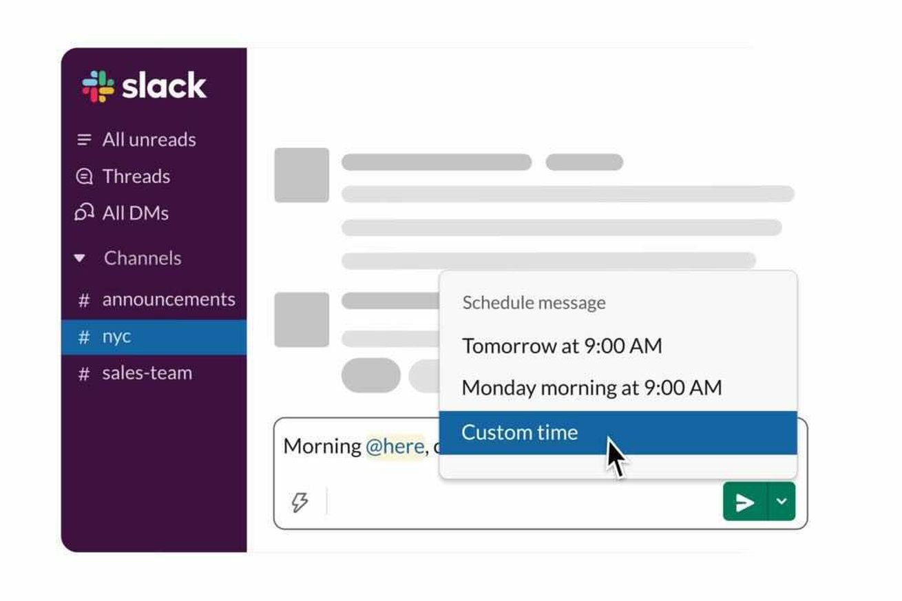 Slack is rolling out a new scheduled send feature