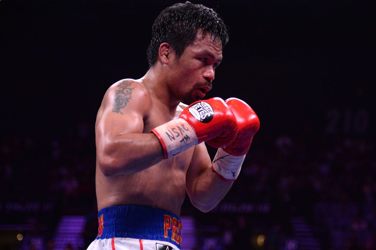 Manny Pacquiao boxes against Keith Thurman (not pictured) during their WBA welterweight championship bout at MGM Grand Garden Arena. Pacquiao won via split decision.