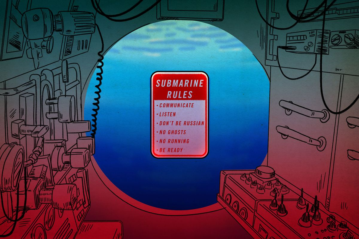 An illustration of a sign inside a submarine listing five rules