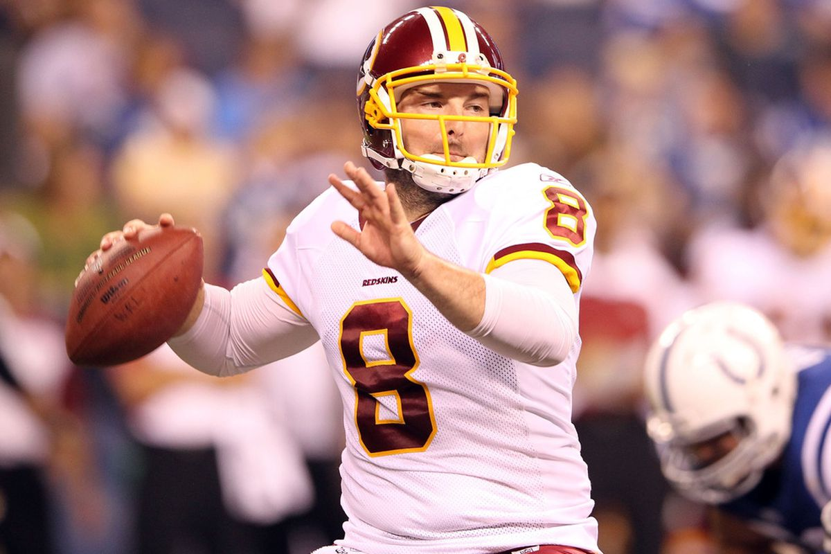 INDIANAPOLIS, IN - AUGUST 19:  Rex Grossman #8 of the Washington Redskins throws a pass during the game against Indianapolis Colts at Lucas Oil Stadium on August 19, 2011 in Indianapolis, Indiana.  (Photo by Andy Lyons/Getty Images)