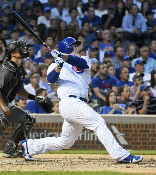 Anthony Rizzo hits his first of two home runs Tuesday. | Matt Marton/AP