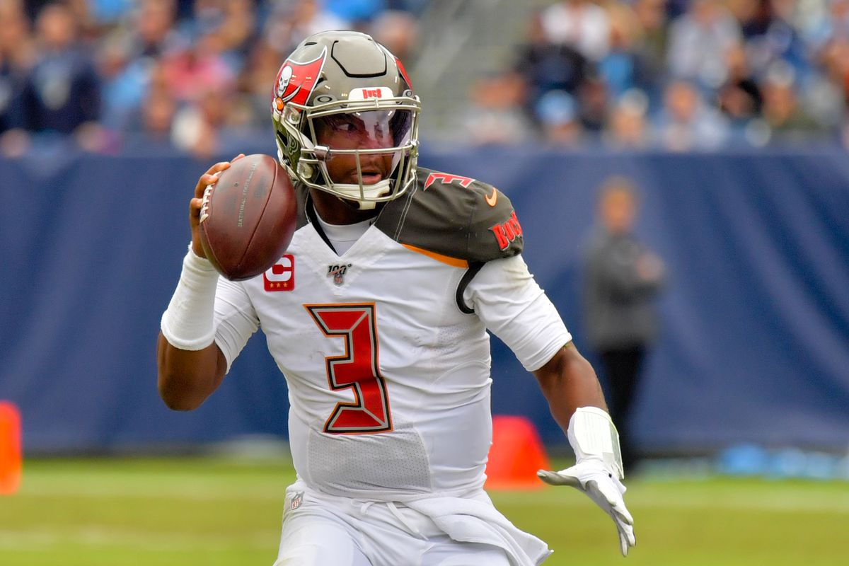 Tampa Bay Buccaneers quarterback Jameis Winston looks to pass during the first half against the Tennessee Titans at Nissan Stadium.