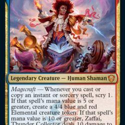Zaffai, the Prismari Commander, is using elemental magic to conduct the Strixhaven orchestra.