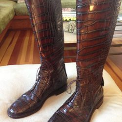 """Gucci croc riding boots, $17,500. """"These are perfect for all those moments when I'm horsing around."""""""