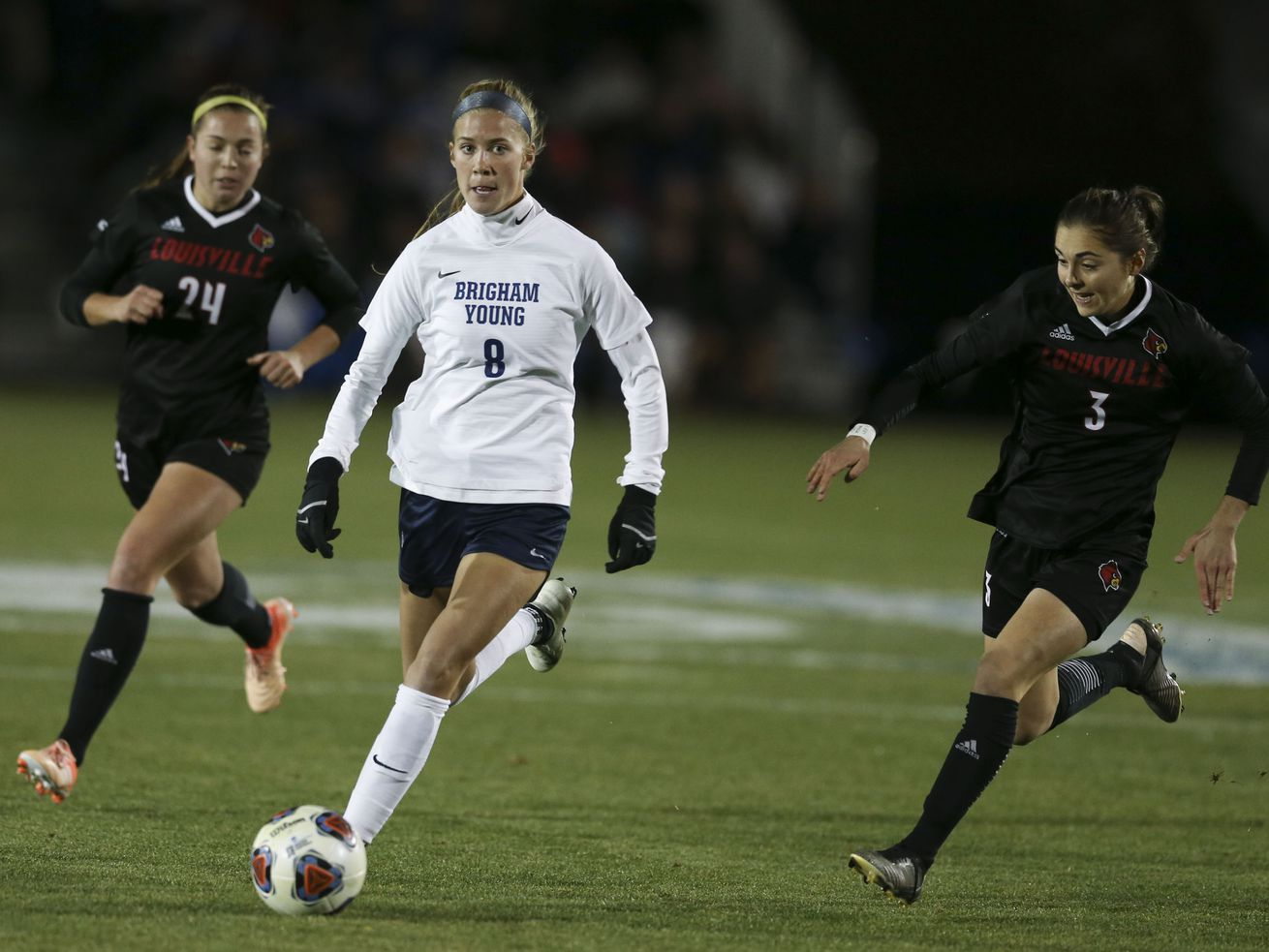 BYU's Mikayla Colohan drives past Louisville in the NCAA soccer tournament in Provo on Thursday, Nov. 21, 2019.