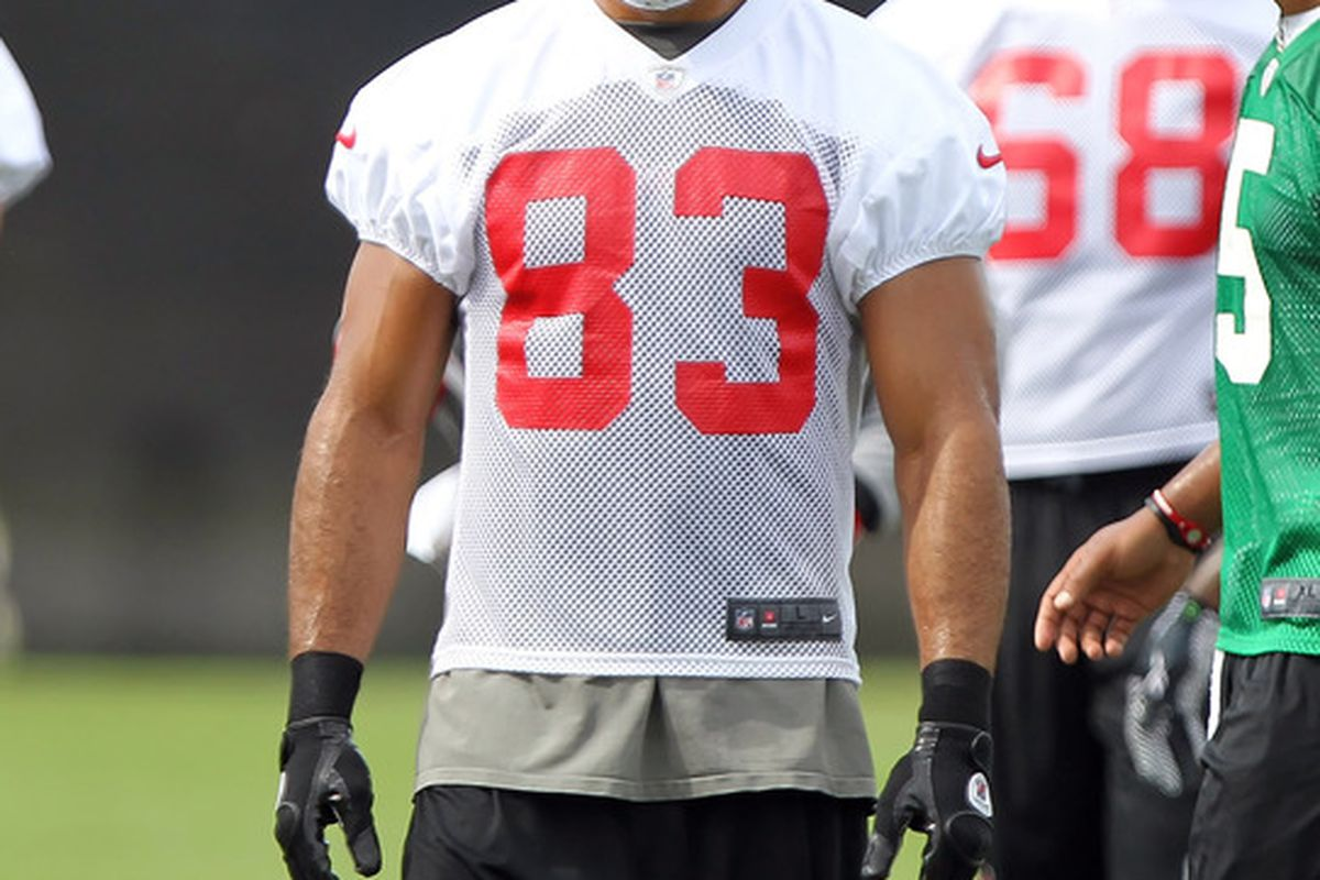 May 15, 2012; Tampa, FL, USA;  Tampa Bay Buccaneers wide receiver Vincent Jackson (83) works out during organized team activities at One Buc.   Mandatory Credit: Kim Klement-US PRESSWIRE