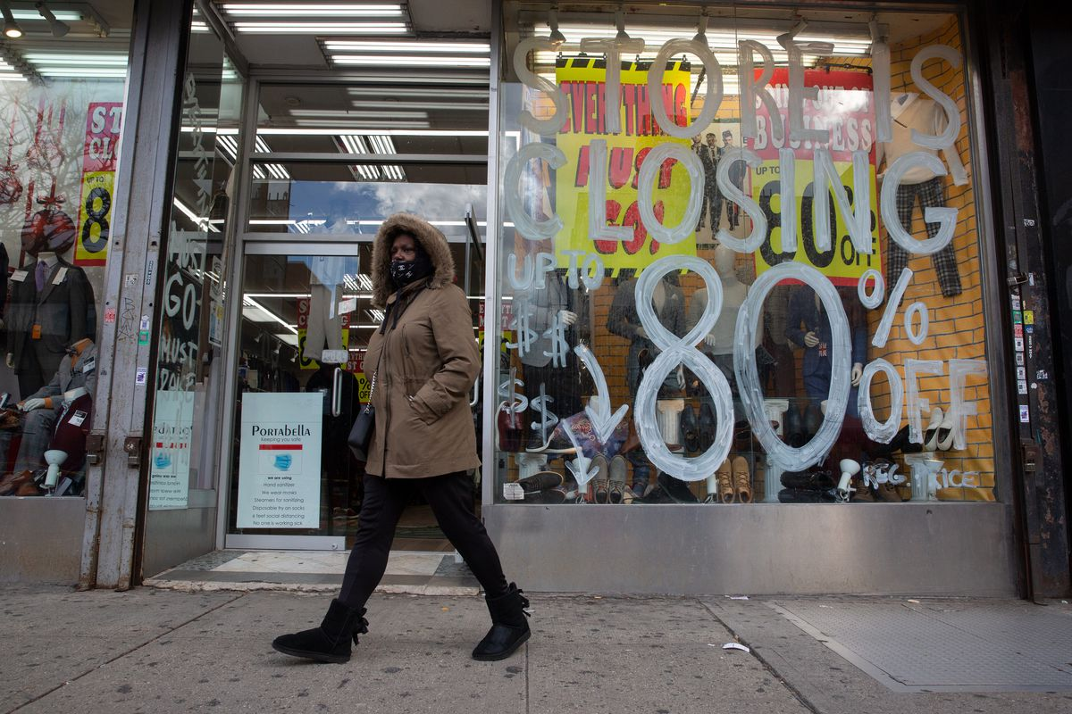 A store on Harlem's 125th Street shows signs continued financial struggle for city small businesses during the coronavirus outbreak, Dec. 1, 2020.