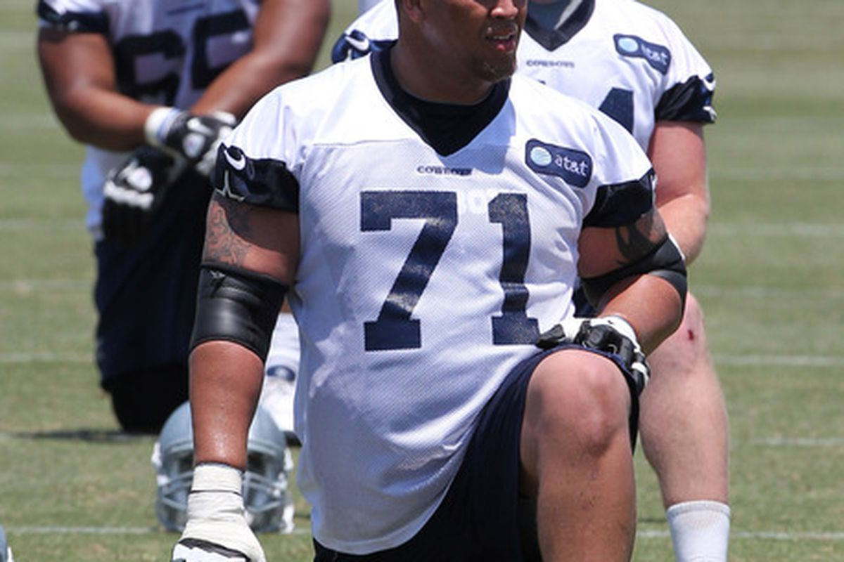 At present, Nate Livings (number 71) is the only sure thing in the interior of the Cowboys' offensive line.